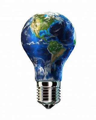 Light bulb with planet Earth inside glass, Americas view.