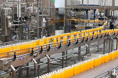 Packed bottles moving on conveyor belt in bottling industry