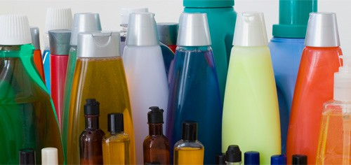bottles of consumer products